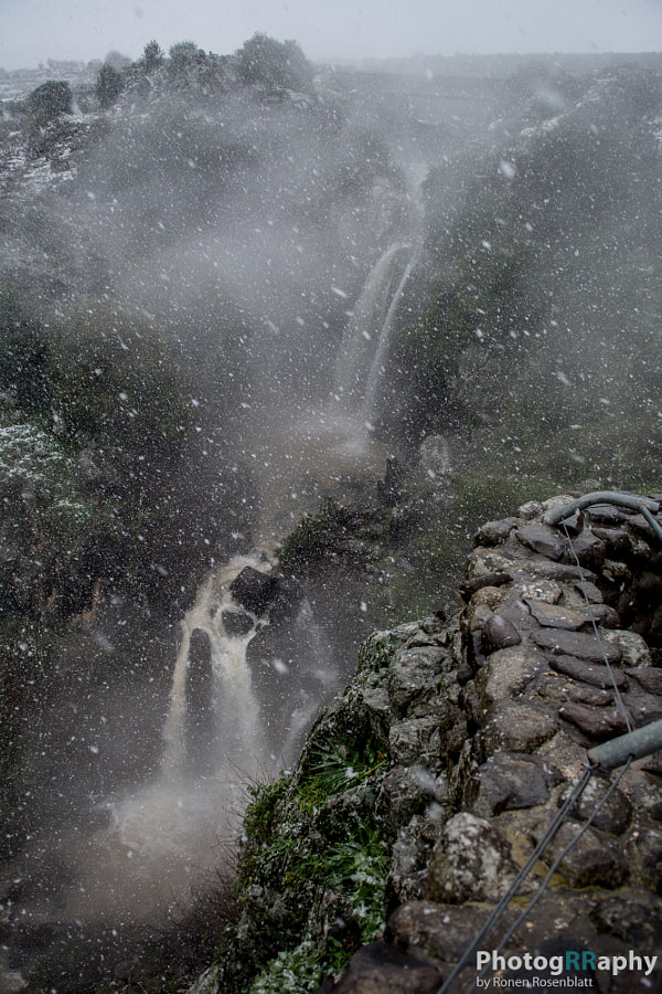 waterfall under snow