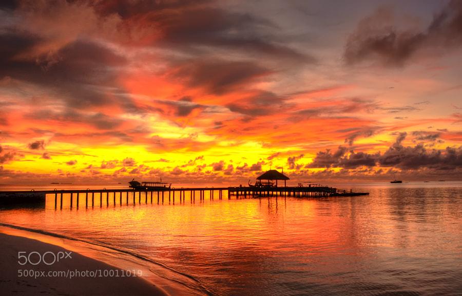 HDR version of the magnific sunset in Maayafushi island (Maldives)