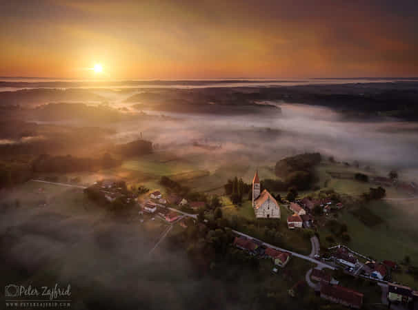 Foggy sunrise  by Peter Zajfrid