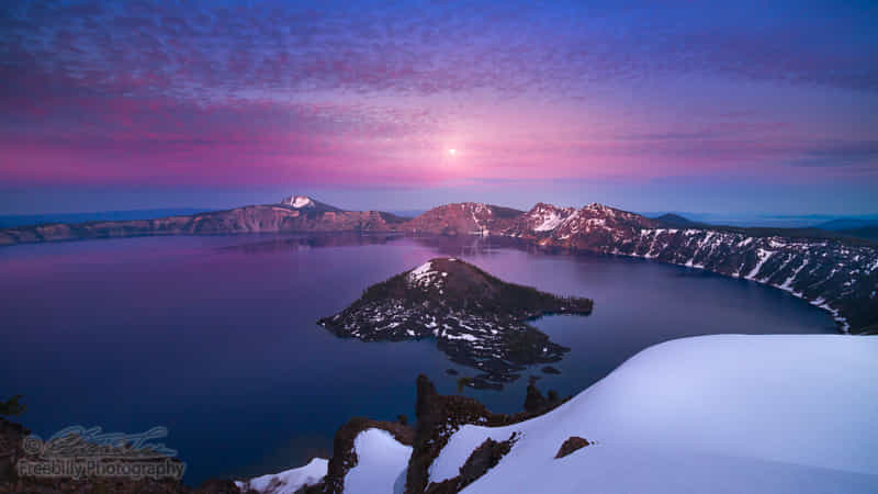 Moon rise after sunset at Crater Lake by William Freebilly photography