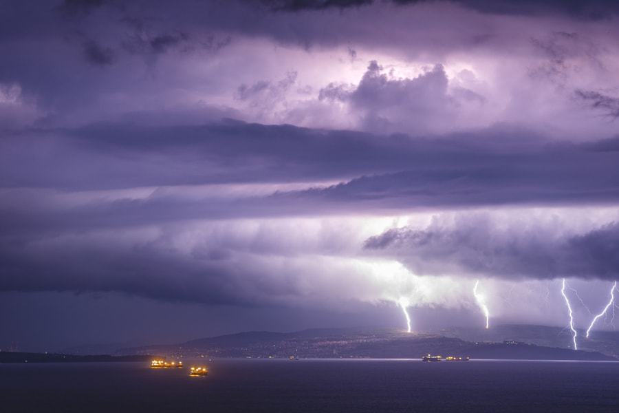 Sea Scape With Lightning Storm by Jure Batagelj on 500px.com