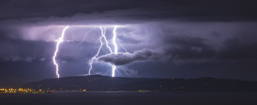 Lightning Nightscape Storm by Jure Batagelj on 500px.com