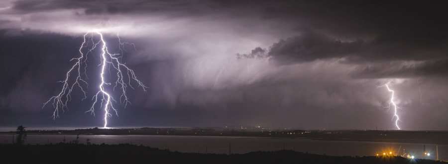 Stormy Clouds Panorama with Lightning by Jure Batagelj on 500px.com