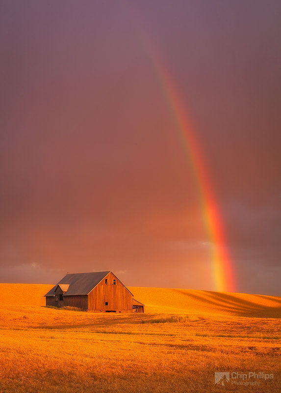 Barn and Rainbow Palouse by Chip Phillips