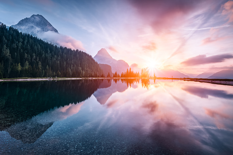 Sunset on Ehrwalder Almsee by Frédéric Paolino on 500px.com