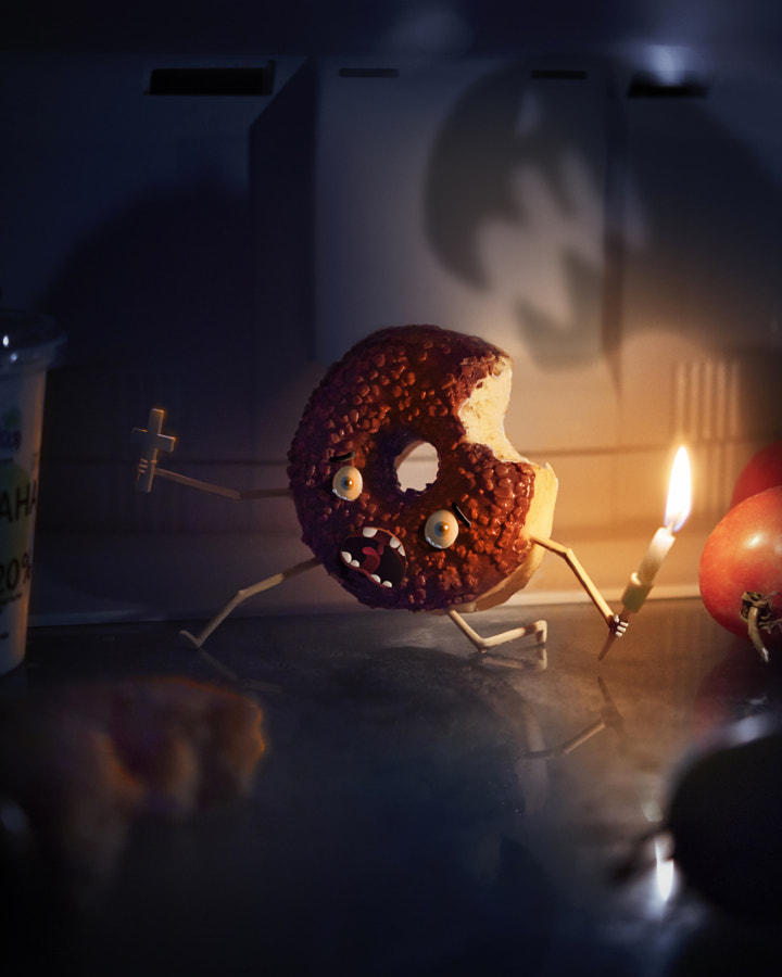 Donut in the refrigerator afraid of darkness by Yuriy Raccoon on 500px.com