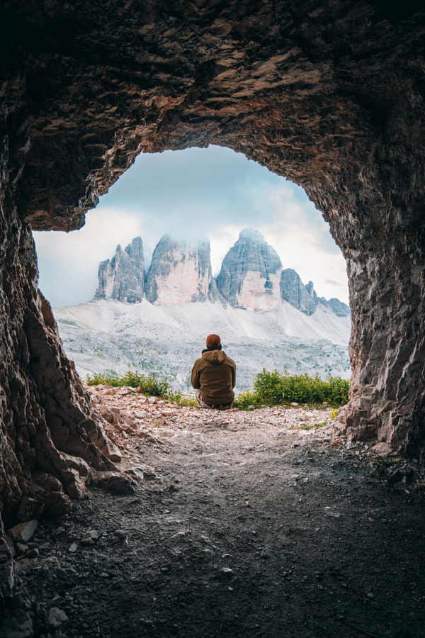 A guy admiring a beautiful mountain landscape by Andrea Dal Soglio on 500px.com