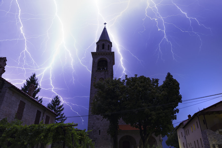 Lightning Church by Jure Batagelj on 500px.com