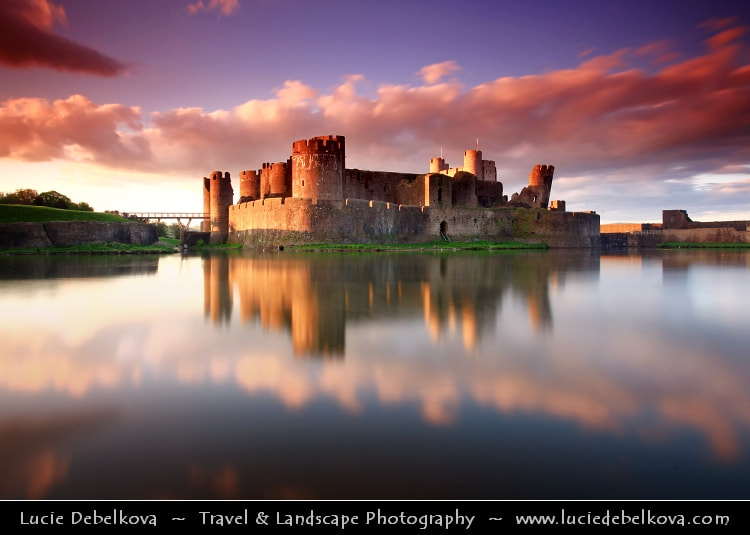Photograph UK - Wales - South Wales - Caerphilly Castle - Castell Caerffili - Medieval castle at Sunset by Lucie Debelkova -  Travel Photography - www.luciedebelkova.com on 500px