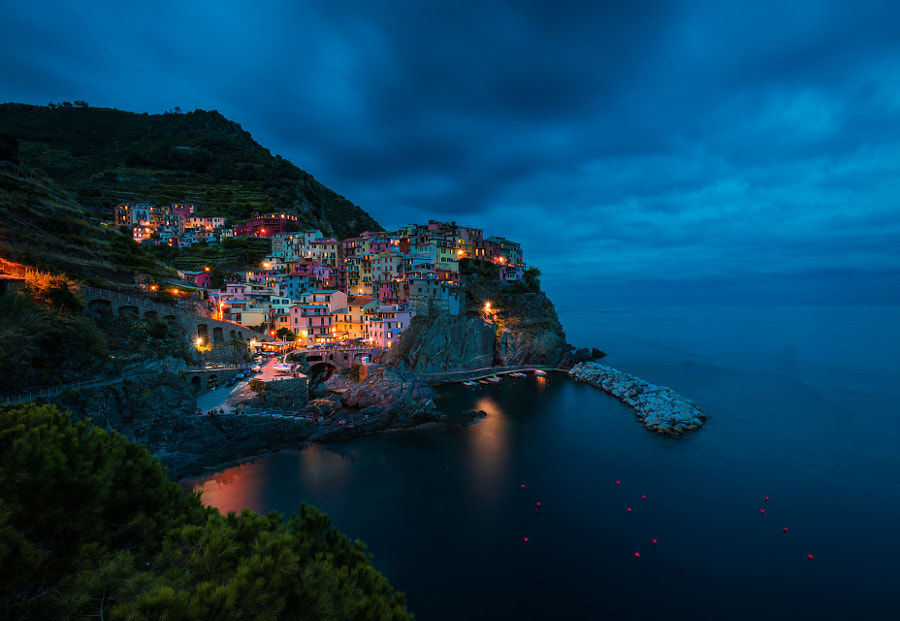 Fishing village at dusk by David Dai on 500px.com