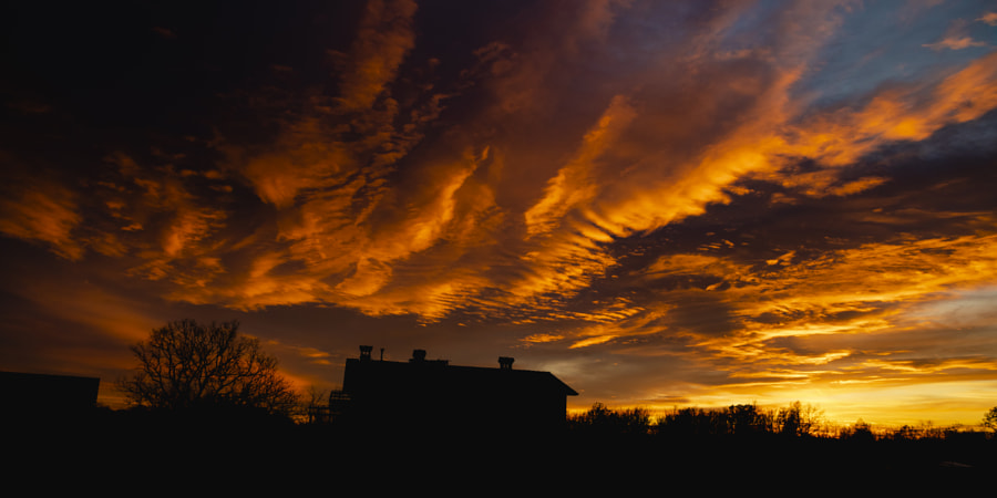 Winter Fiery Sunset Above House by Jure Batagelj on 500px.com