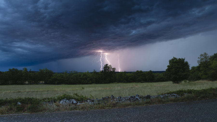 Lightning Landscape at Dusk by Jure Batagelj on 500px.com