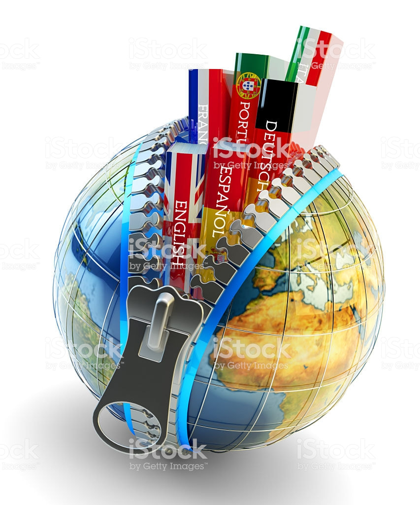 Books with covers in colors of national flags of world countries inside Earth globe with zipper isol