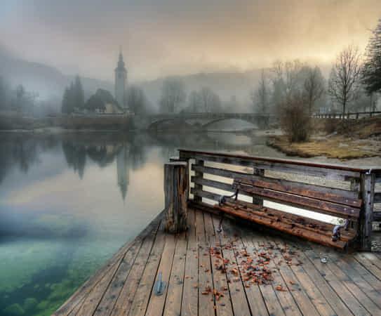 туманное утро на озере Бохинь... by Ed Gordeev