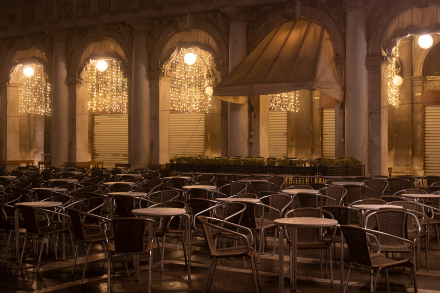 Venice: Chairs on a cafe at St. Mark's Square by Winfried Kastner on 500px.com