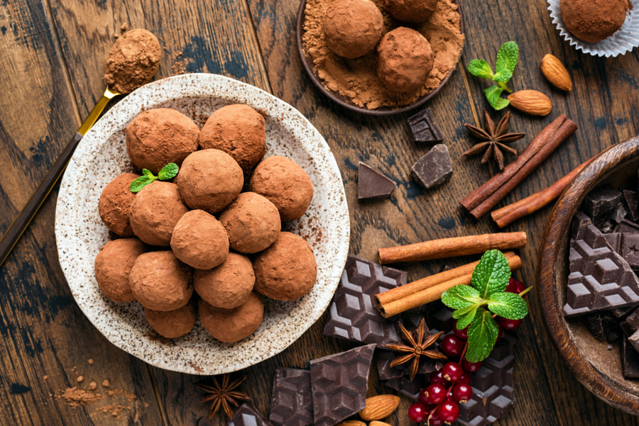 Homemade chocolate truffles with cinnamon by Vladislav Nosick on 500px.com