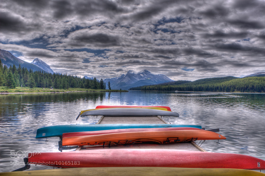 Photograph Clouds are getting blurred at  Maligne Lake by Carsten Peter on 500px