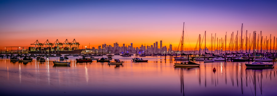 Melbourne viewed from Williamstown by Will Faulkner on 500px.com