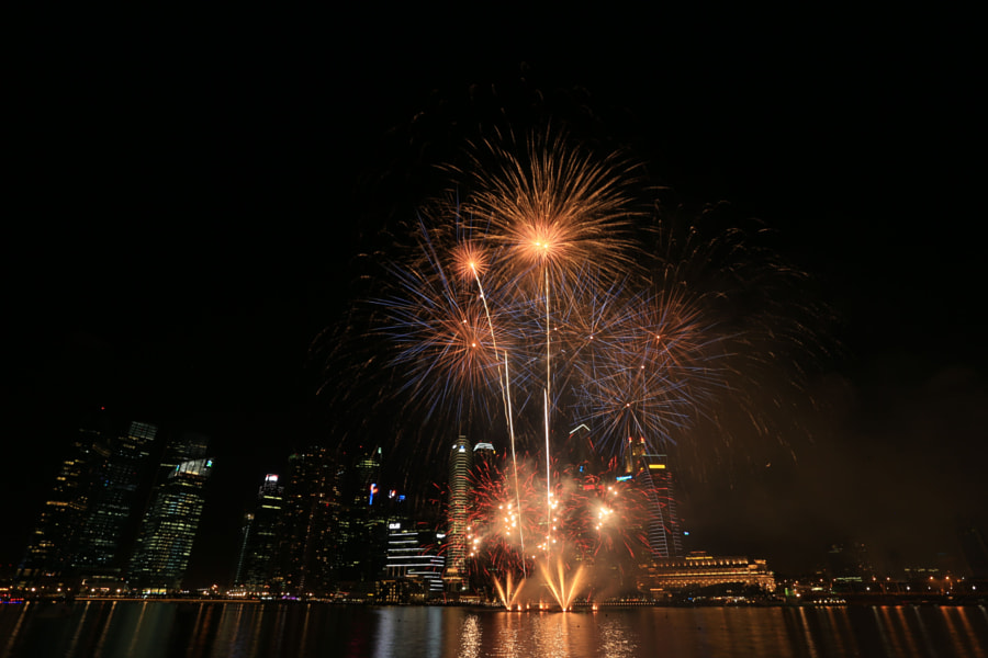 Fireworks at Marina Bay (from Marina Bay Sands)