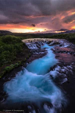 Rushing of the Blue Waterfall by Simon W Xu