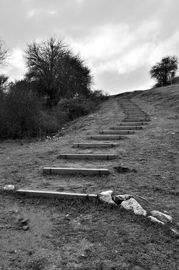 Photograph Black and white Stairs On A Hill by Papanikolaou Joanna on 500px