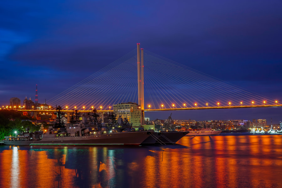 Vladivostok, Russia. Urban landscape with views of the Golden bridge by Victoria Green on 500px.com
