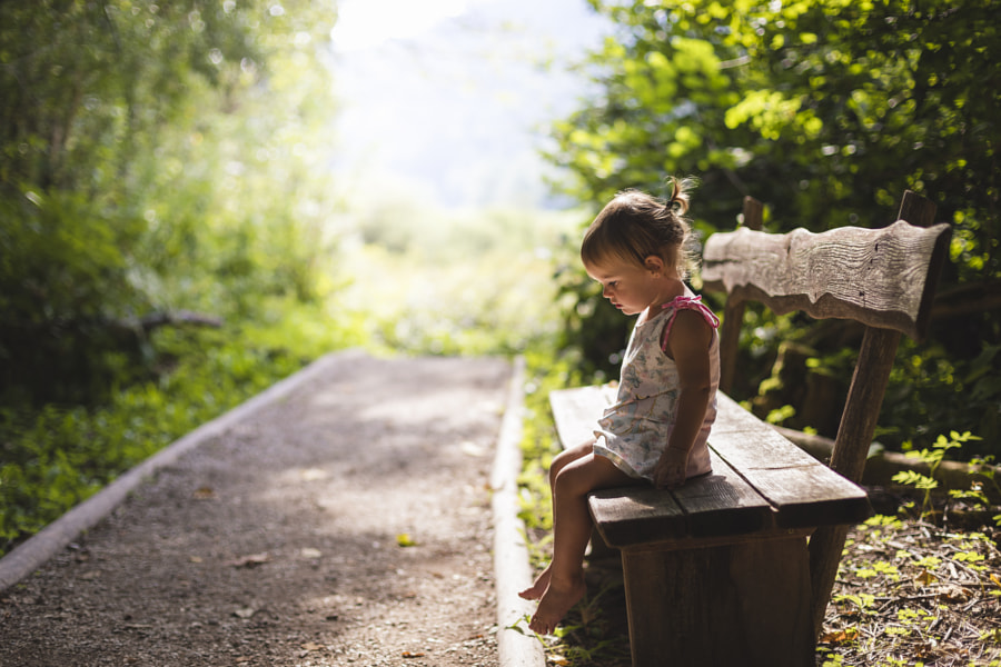 Female Baby Relaxing on Bench by Jure Batagelj on 500px.com