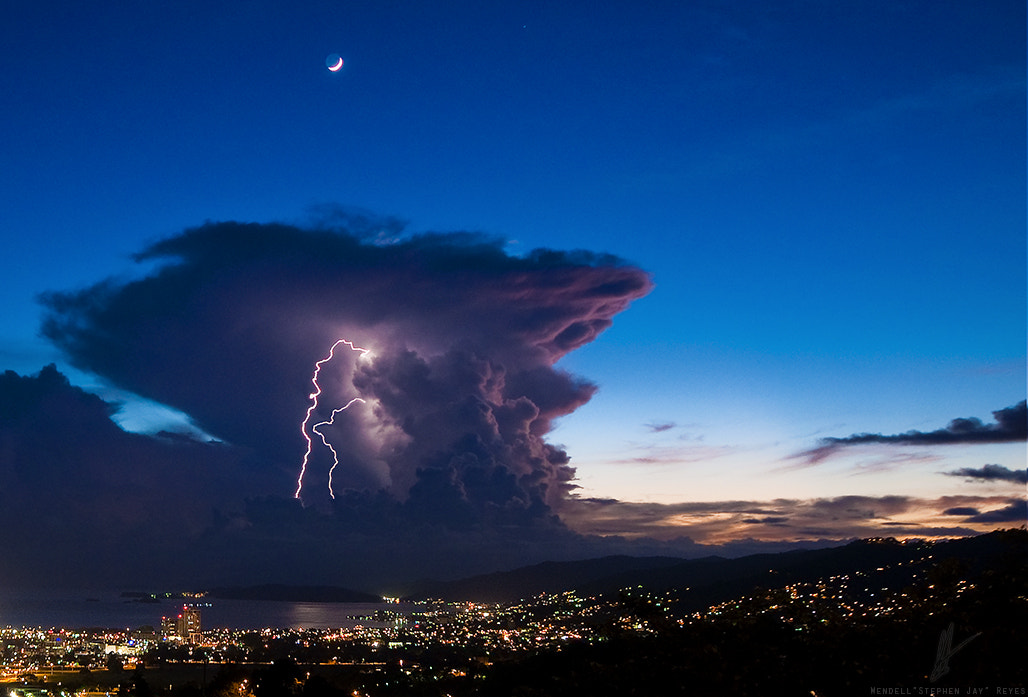 Photograph The Moon, Thunder Cloud & Lightning by S J on 500px