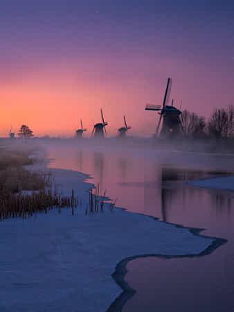 Frozen Kinderdijk by Dag Ole Nordhaug