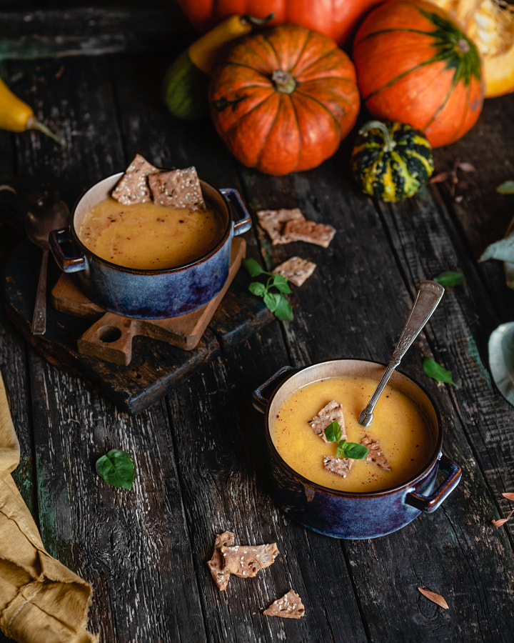 Pumpkin cream soup with crackers by Marina Kuznetcova on 500px.com