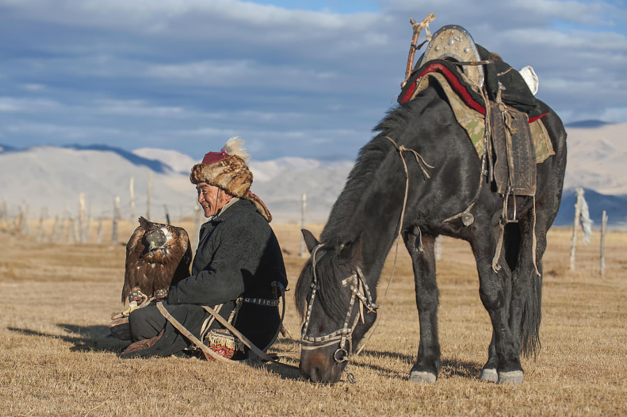 kazakh eagle hunter golden eagle and horse by Kevin Pepper on 500px.com