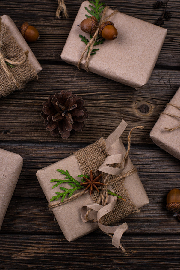 Christmas gift boxes in craft paper by Yuliya Furman on 500px.com