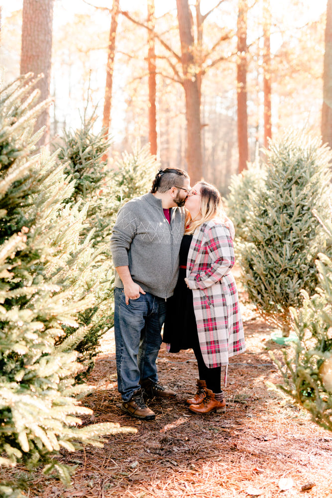 Christmas tree farm engagement