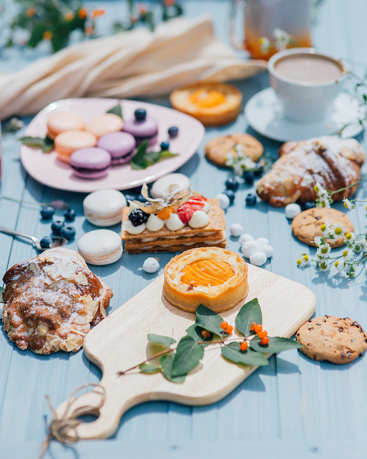 Desserts, spring concept, cake, cookies, croissant, sweets by Mashha M on 500px.com