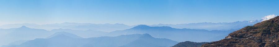 Панорама гор восточного Сиккима (Индия). East Sikkim mountains panorama (India)