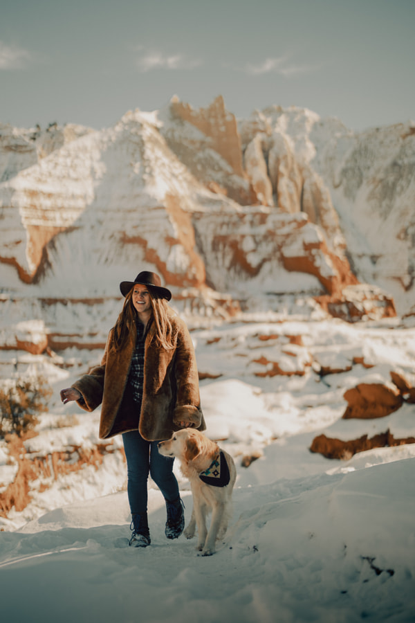 snowy pup hike in the desert by Sam Brockway on 500px.com