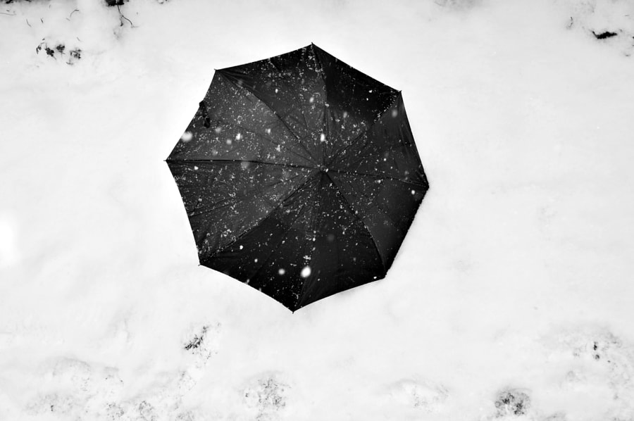 Photograph Black umbrella on the snow by Papanikolaou Joanna on 500px