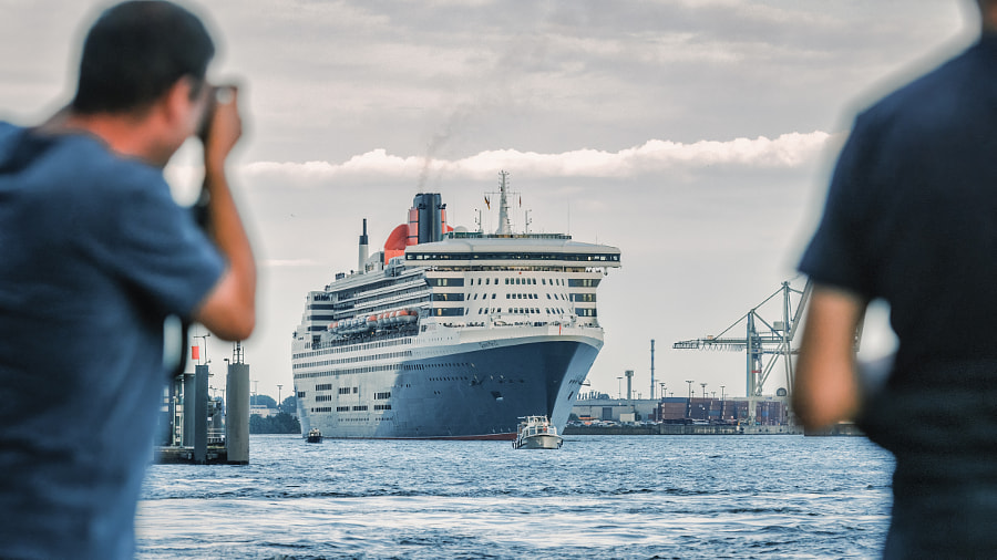 Paparazzi - Queen Mary 2... View from the St. Pauli Piers June 3, 2014 by Peter Holowitz on 500px.com