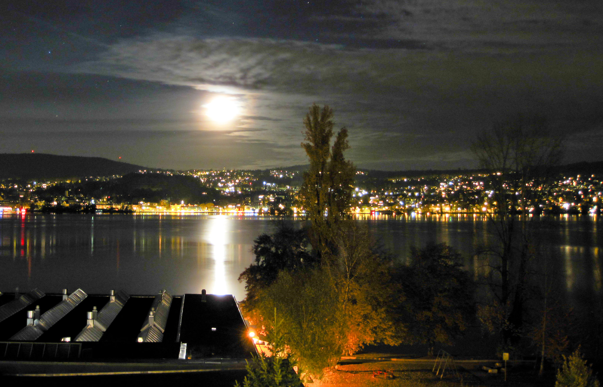 Photograph Moon over Lake Zurich by Thomas Marti on 500px