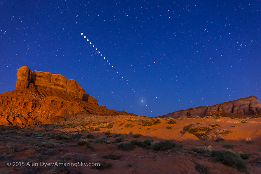 Photograph Lunar Eclipse Sequence from Monument Valley by Alan Dyer on 500px