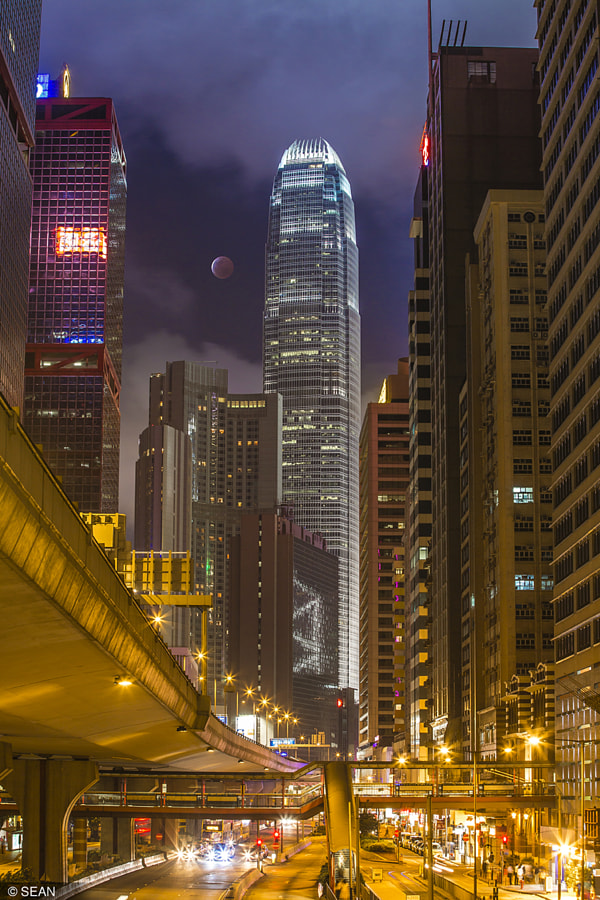 Photograph Blood Moon in Hong Kong by Sean Sun on 500px
