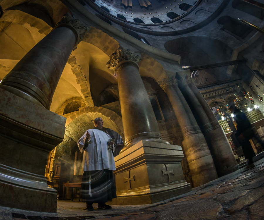 Service in the Temple. Church of the Holy Sepulchre. Jerusalem