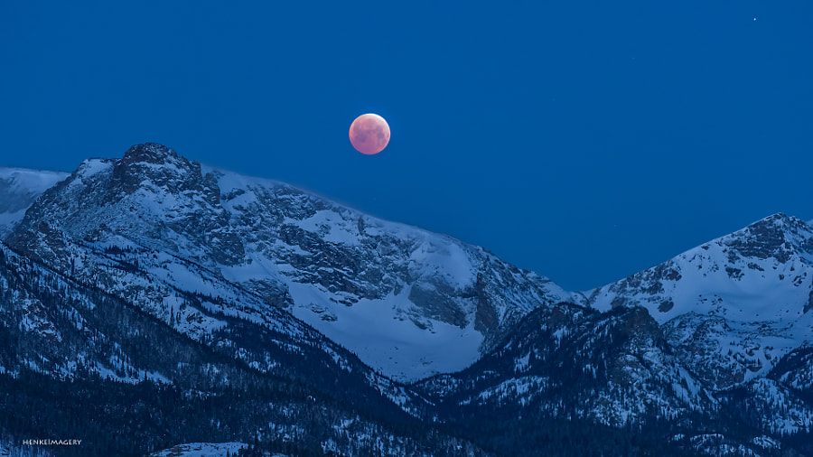 Photograph Blood Moon over Rocky by Ken Henke on 500px
