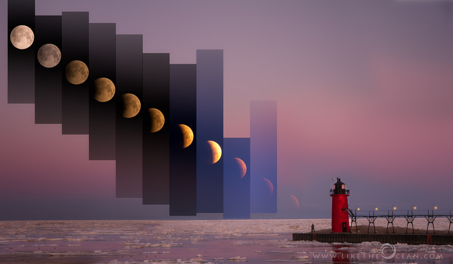 Photograph Lunar Eclipse by the Lighthouse by Sathya R on 500px