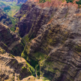 View above Waialae Gorge from a helicopter over Kauai, Hawaii