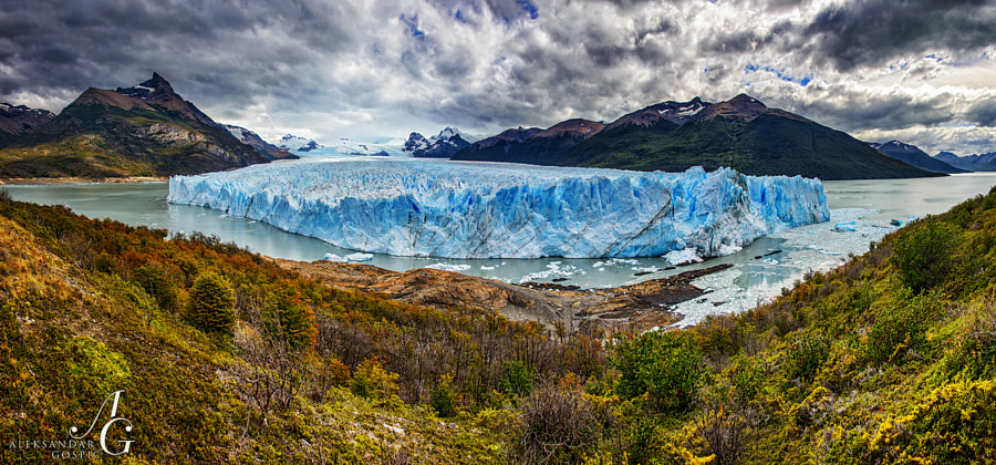 Legendary glacier Perito Moreno, which descends from the vast South Patagonian ice cap, ends its 30 kilometers long journey with 5 kilometers wide and around 60 meters high wall in the Lago Argentino lake