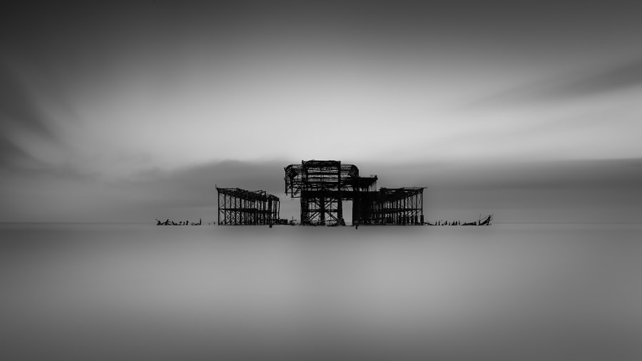 Brighton west pier remains  I only have one place available for my B&W long exposure photography workshop which will take place in London on the 25th and 26th of April Please email vulturelabs@gmail.com for more information.