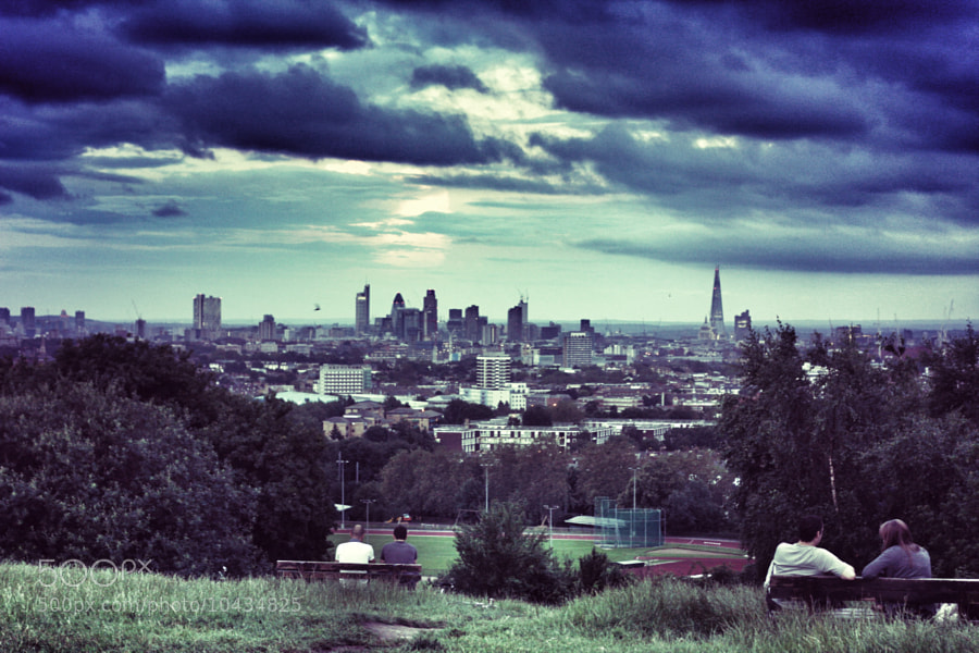 View of the city of London from Parliament Hill on Hampstead Heath