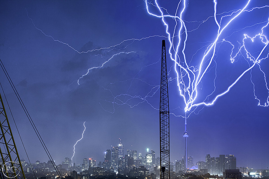 Photograph Multiple CN Tower Strikes by Richard Gottardo on 500px