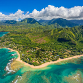 Bird's eye view of Wainiha, Hawaii